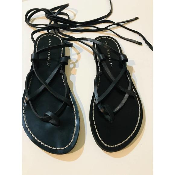 Zara black leather gladiator lace up sandals